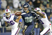 Tight end Jimmy Graham #88 of the Seattle Seahawks brings in another one-handed touchdown against the Buffalo Bills at CenturyLink Field on November 7, 2016 in Seattle, Washington.