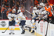 Kyle Okposo #21 of the Buffalo Sabres looks on after they allowed a goal to the Philadelphia Flyers during the third period at Wells Fargo Center on January 7, 2018 in Philadelphia, Pennsylvania.