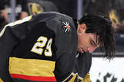 Marc-Andre Fleury #29 of the Vegas Golden Knights adjusts his mask in the third period of a game against the Buffalo Sabres at T-Mobile Arena on October 16, 2018 in Las Vegas, Nevada. The Golden Knights defeated the Sabres 4-1.