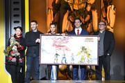 (L-R) Travis Knight, Hailee Steinfeld, John Cena, Lorenzo di Bonaventura attend Paramount Pictures' Beijing press conference for 'Bumblebee' on December 14, 2018 in Beijing, China.