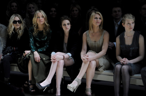 (L-R) Mary-Kate Olsen, Kate Hudson, Kristen Stewart, Claire Danes, Mia Wasikowska attend the Burberry Prorsum LFW Autumn/Winter 2010 Women?s wear show at the Parade Ground, Chelsea College of Art on February 23, 2010 in London, England.