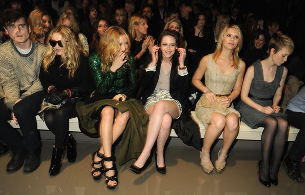 (L-R) Mary-Kate Olsen, Kate Hudson, Kristen Stewart, Claire Danes attend the Burberry Prorsum LFW Autumn/Winter 2010 Women?s wear show at the Parade Ground, Chelsea College of Art on February 23, 2010 in London, England.