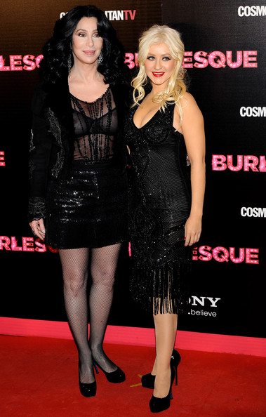 "Cher (L) and Christina Aguilera (R) attend ""Burlesque"" premiere at Callao cinema on December 9, 2010 in Madrid, Spain."