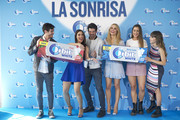 (L-R) Anton Lofer, Pilar Rubio, Miguel Angel Munoz, Patricia Conde, Paula Gonu and Aitana attend 'Buscamos La Sonrisa Orbit White' competition at Club Allard restaurant on May 9, 2018 in Madrid, Spain.