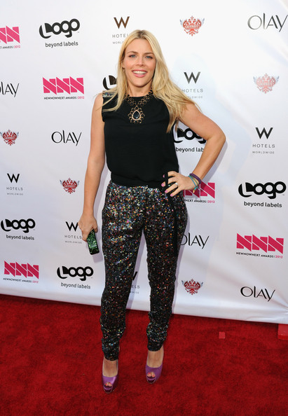 "Logo's ""NewNowNext Awards"" 2012 - Red Carpet [red carpet,clothing,carpet,red carpet,fashion,footwear,flooring,waist,crop top,premiere,style,actress,busy phillips,newnownext awards,fashion detail,california,hollywood,avalon,logo]"