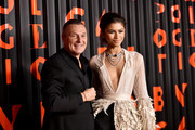 Blvgari CEO Jean Christophe Babin and Zendaya attend the Bvlgari B.zero1 Rock collection event at Duggal Greenhouse on February 06, 2020 in Brooklyn, New York.