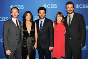 (L-R) Cast members of How I Met Your Mother Neil Patrick Harris, Cobie Smulders, Josh Radnor, Alyson Hannigan and Jason Segel attend CBS 2013 Upfront Presentation at The Tent at Lincoln Center on May 15, 2013 in New York City.