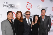 """Actors Tim Kang, Amanda Righetti, Simon Baker, Robin Tunney, and Owain Yeoman attend the CBS 100 episode celebration of """"The Mentalist"""" held at The Edison on October 13, 2012 in Los Angeles, California."""