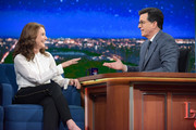 The Late Show with Stephen Colbert and guest Debra Winger during Thursday's May 4, 2017 show.