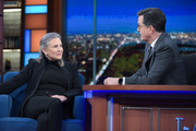 The Late Show with Stephen Colbert and guest Carrie Fisher during Monday's 11/21/16 show in New York.