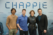 (From L to R) Actor Dev Patel, director Neill Blomkamp, actress Sigourney Weaver and actor Hugh Jackman attend a photo call for the film 'CHAPPIE' at Hotel De Rome on February 27, 2015 in Berlin, Germany.