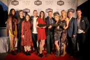 """(L-R) Alisa Beth, Bryant Lowry, SVP of Developement of CMT Morgan Selzer, Kerry Degman,  Rachyl Degman, GM of TV Land and CMT Frank Tanki, Jessica Mack, Sarah Thomas, president of Paramount Network, TV Land and CMT Kevin Kay and Jackson Boyd attend CMT's """"Music City"""" premiere party on February 20, 2018 in Nashville, Tennessee."""