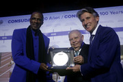 IAAF President Sebastian Coe, CONSULDATE President Robert Gesta De Melo and Robson Catenao da Silva of Brazil during the CONSULDATE Centenary Dinner and Show on July 27, 2018 in Buenos Aires, Argentina.