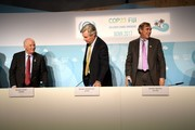 US Senator Ben Cardin (from L-R), Sheldon Whitehouse and Jeff Merkley of Oregon leave a press conference on November 11, 2017 during the COP23 United Nations Climate Change Conference in Bonn, Germany. / AFP PHOTO / PATRIK STOLLARZ