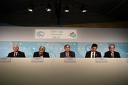 (from L-R) US Senator Ben Cardin, Sheldon Whitehouse, Jeff Merkley, Brian Schatz and Ed Markey attend a press conference on November 11, 2017 during the COP23 United Nations Climate Change Conference in Bonn, Germany. / AFP PHOTO / PATRIK STOLLARZ