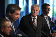 Horst Seehofer (C), Chairman of the Christian Social Union (CSU), and Markus Soeder (2nd from L), Governor of Bavaria and lead candidate of the CSU in yesterday's Bavarian state elections, speak to the media follwoing a meeting of the CSU leadership at party headquarters on October 15, 2018 in Munich, Germany. The CSU faired poorly in the election, winning 37.2% of the vote, 10.5 votes fewer than in the last election. The CSU has long been Bavaria's strongest party but will now face the arduous task of forming a state government coalition.