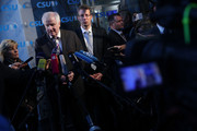 Horst Seehofer, Chairman of the Bavarian Social Union (CSU), speaks to the media as he arrives for a meeting of the CSU leadership at party headquarters on October 15, 2018 in Munich, Germany. The CSU faired poorly in the election, winning 37.2% of the vote, 10.5 votes fewer than in the last election. The CSU has long been Bavaria's strongest party but will now face the arduous task of forming a state government coalition.