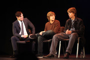 (l-r) George Cacers and actors Dylan Sprouse and Cole Sprouse during their Master Workshop on acting, hosted by Celebrity Talent Academy and Starlight Children's Foundation at the Cochrane Theatre on  January 29, 2011 in London, England.