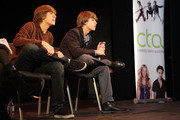 (l-r) Actors Dylan Sprouse and Cole Sprouse during their Master Workshop on acting, hosted by Celebrity Talent Academy and Starlight Children's Foundation at the Cochrane Theatre on  January 29, 2011 in London, England.