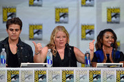 """(L-R) Actor Paul Wesley, writer/producer Julie Plec and actress Kat Graham attend CW's """"The Vampire Diaries"""" panel during Comic-Con International 2014 at San Diego Convention Center on July 26, 2014 in San Diego, California."""