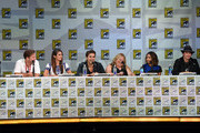 """(L-R) Actors Matthew Davis, Nina Dobrev and Paul Wesley, writer/producer Julie Plec, actors Kat Graham and Ian Somerhalder attend CW's """"The Vampire Diaries"""" panel during Comic-Con International 2014 at San Diego Convention Center on July 26, 2014 in San Diego, California."""