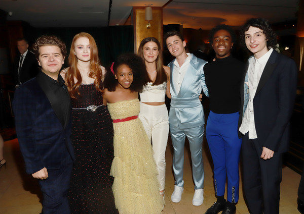 2020 Netflix SAG After Party [event,social group,friendship,fashion,formal wear,youth,fun,suit,smile,dress,gaten matarazzo,sadie sink,millie bobby brown,noah schnapp,priah ferguson,caleb mclaughlin,l-r,netflix,sag,party,millie bobby brown,sadie sink,gaten matarazzo,caleb mclaughlin,maya hawke,stranger things,the stranger,screen actors guild awards,netflix]