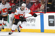 Mark Giordano #5 of the Calgary Flames  skates against the New Jersey Devils at the Prudential Center on February 27, 2019 in Newark, New Jersey. The Flames defeated the Devils 2-1.