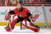 Craig Anderson #41 of the Ottawa Senators makes a save during warmups prior to a game against the Calgary Flames at Canadian Tire Centre on March 9, 2018 in Ottawa, Ontario, Canada.  (Photo by Jana Chytilova/Freestyle Photography/Getty Images) *** Local Caption ***