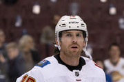 James Neal #18 of the Calgary Flames during the pre-game warmup prior to NHL action against the Vancouver Canucks on October, 3, 2018 at Rogers Arena in Vancouver, British Columbia, Canada.