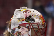 Goalie Mike Smith #41 of the Calgary Flames during the pre-game warmup prior to NHL action against the Vancouver Canucks on October, 3, 2018 at Rogers Arena in Vancouver, British Columbia, Canada.