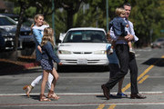 Democratic gubernatorial candidate Lt. Gov. Gavin Newsom (R) and his wife Jennifer Siebel Newsom (L) walk with their kids before voting at the Masonic Temple Fairfax on June 5, 2018 in Larkspur, California.  California Lt. Gov. Gavin Newson cast his ballot as California voters are heading to the polls to vote in the primary election. Newsom is expected to claim the top spot in the California gubernatorial primary election ahead of republican candidate John Cox and former Los Angeles mayor Antonio Villaraigosa, a democrat.
