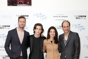 """(L-R) Armie Hammer, Timothee Chalamet, Esther Garrel and Luca Guadagnino attend the Mayor Of London Gala & UK Premiere of """"Call Me By Your Name"""" during the 61st BFI London Film Festival on October 9, 2017 in London, England."""