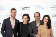 """(L-R) Armie Hammer, Timothee Chalamet, Luca Guadagnino and Esther Garrel attend the Mayor Of London Gala & UK Premiere of """"Call Me By Your Name"""" during the 61st BFI London Film Festival on October 9, 2017 in London, England."""