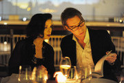 Bianca Jagger dining at the Calvin Klein Collection Dinner to Celebrate the new home of London's Design Museum at The Design Museum on October 13, 2011 in London, England.