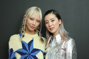 Soo-Joo Park (L) and Irene Kim attend the Calvin Klein Collection fashion show at New York Stock Exchange on September 11, 2018 in New York City.