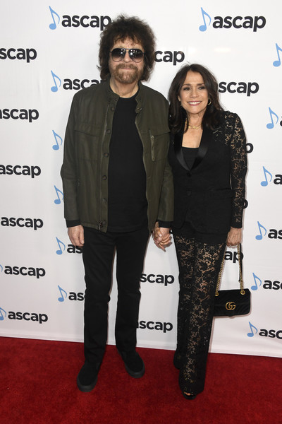 36th Annual ASCAP Pop Music Awards - Arrivals [carpet,event,premiere,footwear,red carpet,outerwear,suit,flooring,fashion design,arrivals,jeff lynne,camelia kath,ascap pop music awards,beverly hills,california,the beverly hilton hotel]