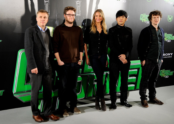 "(L to R) Actors Christoph Waltz, Seth Rogen, Cameron Diaz, Jay Chou and director Michel Gondry attend ""The Green Hornet"" photocall at Villamagna Hotel on December 2, 2010 in Madrid, Spain."