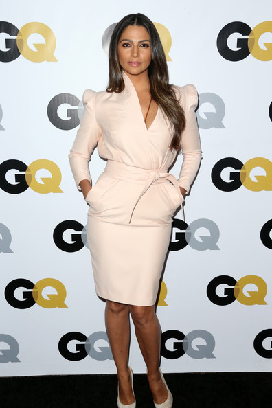 GQ Men Of The Year Party - Arrivals [dress,clothing,shoulder,cocktail dress,fashion model,hairstyle,joint,carpet,fashion,long hair,arrivals,camila alves mcconaughey,los angeles,the ebell club,california,gq men of the year party]