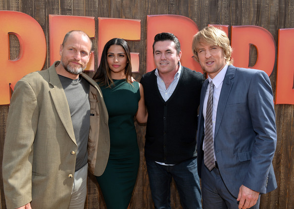 "Premiere Of Relativity Media's ""Free Birds"" - Red Carpet [free birds,suit,event,formal wear,management,red carpet,woody harrelson,camila alves mcconaughey,owen wilson,tucker tooley,l-r,relativity media,premiere,premiere]"