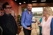 Camilla, Duchess of Cornwall meets Gok Wan and Rylan Clark as she visits ITV Studios to mark their 60th Anniversary at London Television Centre on September 9, 2915 in London, England.