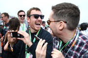 Actors Michael Fassbender and Bryan Singer attend the Canadian Formula One Grand Prix at Circuit Gilles Villeneuve on June 7, 2015 in Montreal, Canada.