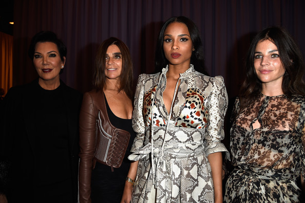 Front Row at Givenchy [show,fashion,beauty,event,fashion design,fun,adaptation,dress,haute couture,formal wear,carine roitfeld,julia restoin roitfeld,ciara,kris jenner,front row,part,l-r,paris fashion week womenswear spring,givenchy]