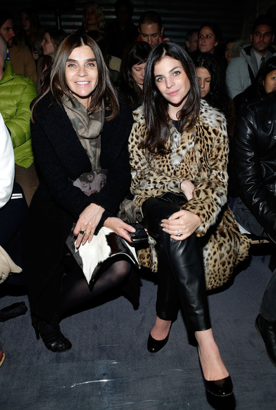 Proenza Schouler - Front Row - Fall 2013 Mercedes-Benz Fashion Week [fashion,thigh,leg,event,fashion design,footwear,joint,leather,outerwear,fashion show,julia restoin roitfeld,carine roitfeld,front row,new york city,proenza schouler,mercedes-benz fashion week,fashion show]