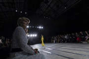 Julie Bishop watches on during the Carla Zampatti show at Mercedes-Benz Fashion Week Resort 20 Collections at Carriageworks on May 16, 2019 in Sydney, Australia.