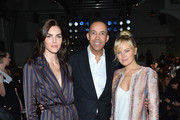 (L-R) Hilary Rhoda, CEO, CARLISLE Terrence Morehead, and Malin Akerman attend the Carlisle Fall/Winter 2018 Runway Show during New York Fashion Week at Pier 59 Studios on February 13, 2018 in New York City.