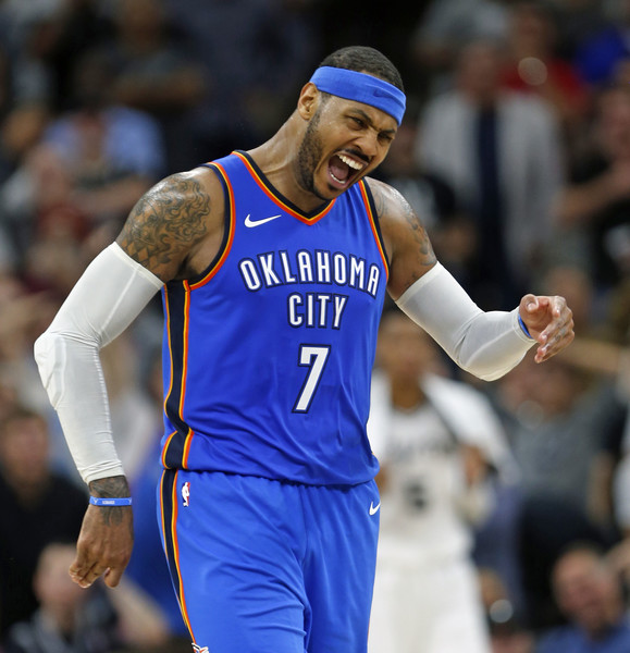 5be41fe38d7 Carmelo Anthony Photos Photos - Oklahoma City Thunder v San Antonio ...