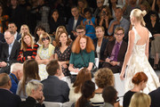 James Fallon, Virginia Smith, Anna Wintour, Gina Sanders, Grace Coddington, Susan Plagemann, and Hamish Bowles attend the Carolina Herrera fashion show during Mercedes-Benz Fashion Week Spring 2015 at The Theatre at Lincoln Center on September 8, 2014 in New York City.