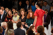 (L-R) Fashion Market/Accessories Director of Vogue Virginia Smith, Editor-in-Chief of Vogue Anna Wintour, President of Global Development of Conde Nast Gina Sanders, and Creative Director of American Vogue magazine Grace Coddington attend the Carolina Herrera fashion show during Mercedes-Benz Fashion Week Spring 2015 at The Theatre at Lincoln Center on September 8, 2014 in New York City.