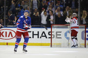 Jimmy Vesey #26 of the New York Rangers glances at the scoreboard after scoring the game winning goal against Cam Ward #30 of the Carolina Hurricanes  at Madison Square Garden on November 29, 2016 in New York City. The Rangers defeated the Hurricanes 2-1.
