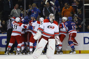 Cam Ward #30 of the Carolina Hurricanes skates out of his crease as the Hurricanes and New York Rangers battle during the third period at Madison Square Garden on November 29, 2016 in New York City. The Rangers defeated the Hurricanes 2-1.